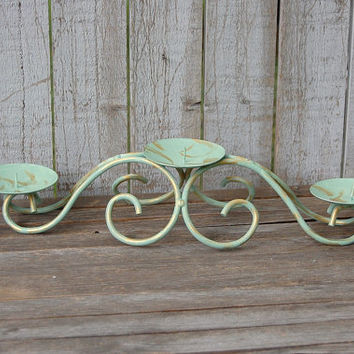 Shabby Chic Candle Holder, Sage Green, Gold, Hand Painted, Pillar Candle Holder
