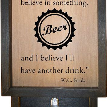 "Wooden Shadow Box Bottle Cap Holder with Bottle Opener 9""x15"" - Everybody has to w/Cap"