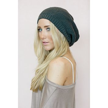Slouchy Knitted Beret Beanie - Charcoal