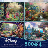 Thomas Kinkade Disney Dreams Collection 500 Piece Puzzle Multi-Pack 4 in 1