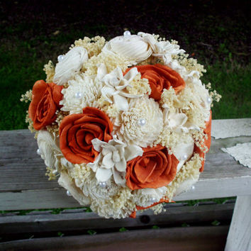Burnt orange bridal bouquet, Fall bouquet, Sola bouquet, Fall wedding bouquet, rustic bouquet, rustic wedding, Fall wedding