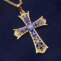 Fashionable Rhinestone Cross Pendant Necklaces