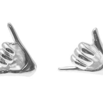 "SOLID 925 STERLING SILVER RHODIUM HAWAIIAN ""SHAKA"" HANG LOOSE STUD POST EARRINGS"