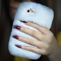 White Warm Soft Rabbit Fur Iphone Case for 4S 5 5S 6 6 S Plus