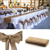"DHL shipping 10pcs 12""x 108"" Vintage Country Jute Hessian Burlap Table Runner Rustic Wedding Party Venue Decoration 30*275cm"