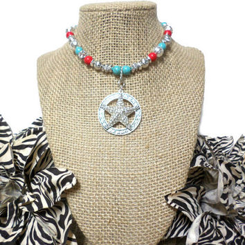 Turquoise, Coral and Silver Beaded Rhinestone TEXAS Star Choker Necklace, gift