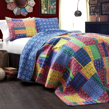 Michaela 3 PC Patchwork Quilt Bedding Boho Bed Collection