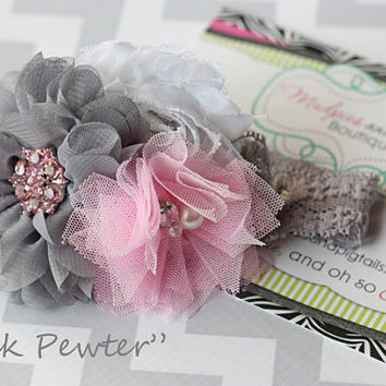 baby headband, Pink Pewter, pink, white, gray Classic shabby chiffon Flower Headband summer photography prop