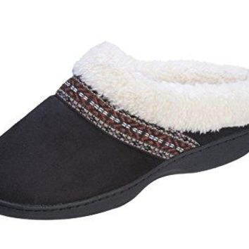 Joan vass Womens Ultra Cozy Faux Suede Indoor and Outdoor Clog Slipper