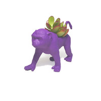 Up-cycled Dark Purple Monkey Animal Planter