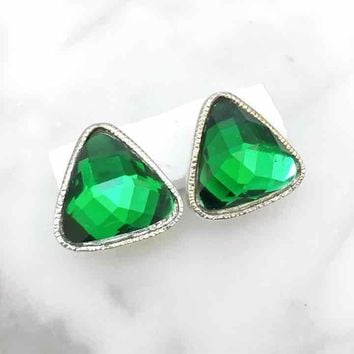 Green Faceted Crystal Button Earrings