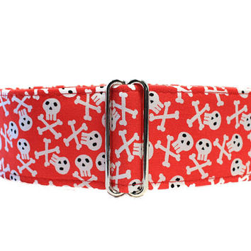 Skull and Crossbones Martingale Collar, 2 Inch Martingale Collar Skull and Crossbones Dog Collar Day of the Dead Dog Collar Greyhound Collar