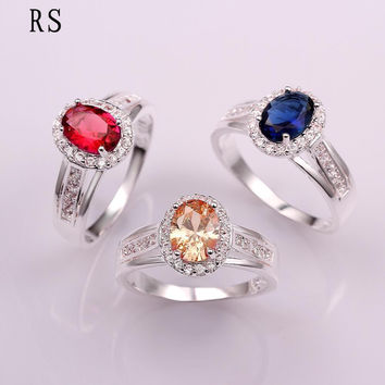 Fashion 925 Sterling  Ring For Women 3 Colors Ruby amethyst Sapphire CZ Stone Lady Rings  Jewelry