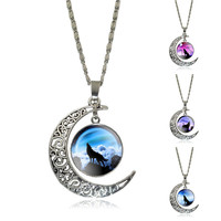 Newest Glass Cabochon Wolf Picture Pendant Vintage Jewelry Silver Plated Half Moon Chain Necklace
