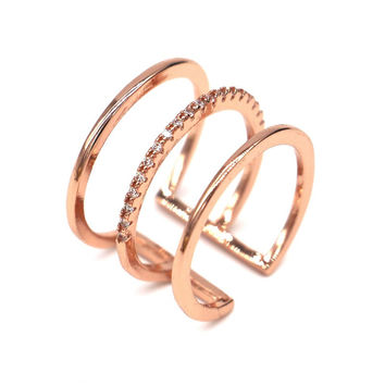 Micro pave 3 layers gold ring 2015 trending rings for women gift