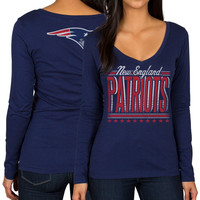 New England Patriots Women's Blue V-Neck Draw Play Long Sleeve T-Shirt