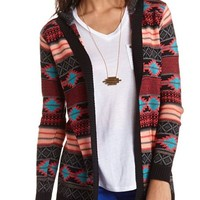 Hooded Aztec Cardigan Sweater