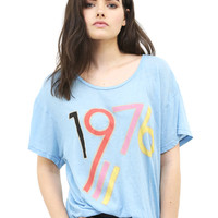 Wildfox 1976 Manchester Tee in Blue Shimmer