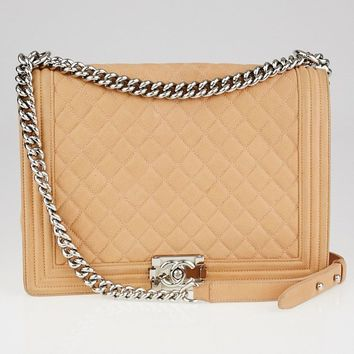Chanel Peach Quilted Matte Caviar Leather Large Boy Bag