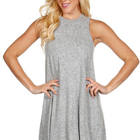 Heather Gray Sleeveless High Neck Dress *MADE IN USA*