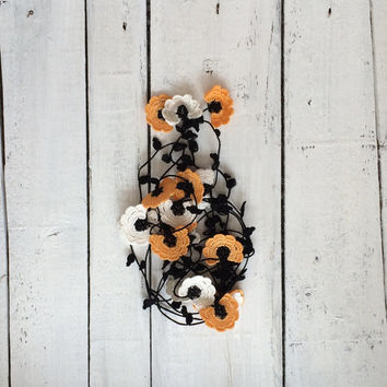 Orange White Crochet Lariat Necklace Oya Orange Flowers Beadwork Necklace Beaded Lariat Jewellery, Beadwork, ReddApple, Gift Ideas