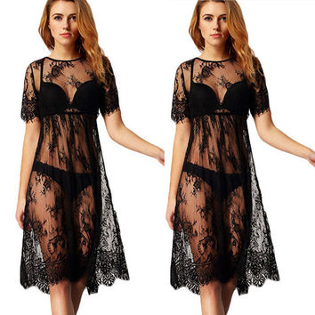 See Through Lace Swimwear Blouse One Piece Dress [6343425857]