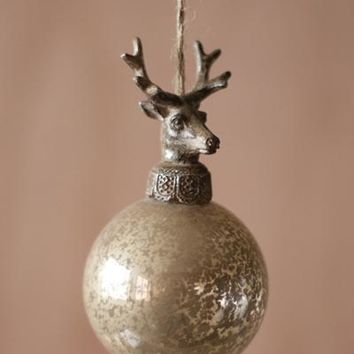 Set Of 6 Glass Ball With Deer Christmas Ornaments
