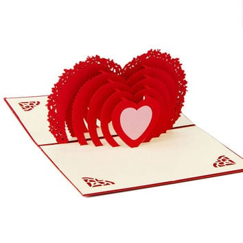 Greeting Card 3D Pop Up Card Heart to Heart Anniversary Valentine Birthday Thank You Christmas
