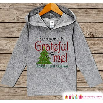 Baby's First Christmas - Kids Hoodie Pullover - Grey Christmas Sweater - Newborn Christmas - Holiday Outfit for Baby, Toddler and Youth
