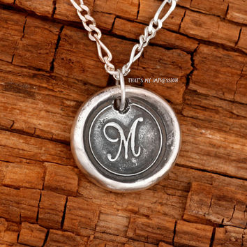 Mother's Day Ideas, Whimsical Sterling Silver Initial Monogram Necklace Pendant with Personalized Handwriting on the Back
