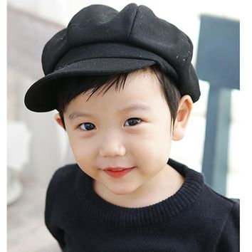Toddler Baby Beret Hat for Boys Girls Children Newsboy Flat Cap Casquette Spring Autumn Solid Red Black Gray 1-5Y