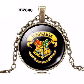 Harry Potter pendant necklace art picture glass cabochon vintage necklace statement necklace jewelry fashion women 2016