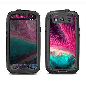 The Neon Pink & Green Leaf Samsung Galaxy S4 LifeProof Fre Case Skin Set