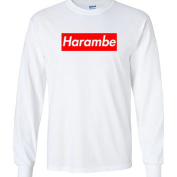 Harambe Supreme Gildan Long Sleeve T-Shirt