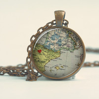 Pendant with Chain - Spain map with heart at Zaragoza