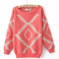 Light red Vintage Diamond Round Neck Sweater