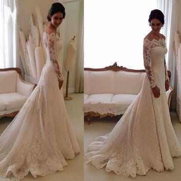 Lace Mermaid Wedding Dresses With Long Sleeve 2016 White Strapless With Court Train Bridal Gowns vestido de noiva
