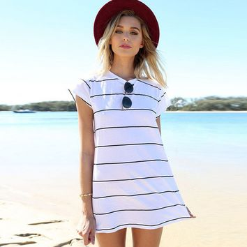 Black And White Stripe Casual Dress