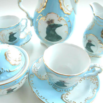 Blue OR Green and Gold Raven Tea Set