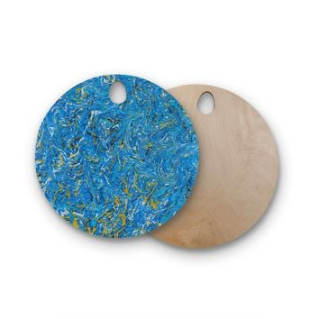 "Bruce Stanfield ""Marbled Blue And Gold"" Blue Gold Painting Round Wooden Cutting Board"