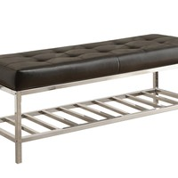 "Bench - 48""L / Black Leather-Look / Chrome Metal"