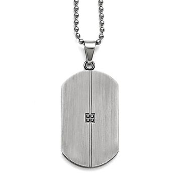 Black Diamond Antiqued Matte Dog Tag Stainless Steel Necklace, 22 Inch