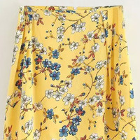 Yellow Floral Printed Mini A-line Skirt