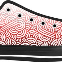 Gradient red and white swirls doodles Black Low Tops