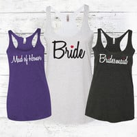 Bride, Maid of Honor & Bridesmaid - Bridal Party Tank Tops - Bride Shirt, Maid of Honor Tank, Bridesmaid Tank Top