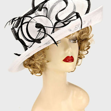 Kentucky Derby Church Wedding Tea Party Feather Accented Flower Sinamay Hat - Black & White