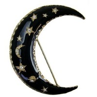 Amazon.com: Crescent Moon Black Enamel Twilight Theme Pin - Gold Plated Crescent Moon CZ Crystals Lapel Pin: Toys & Games