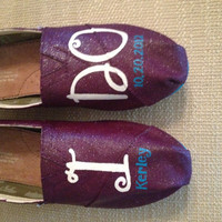 Custom Toms- Personalized Wedding Shoes-Shown with Glitter/Shimmer