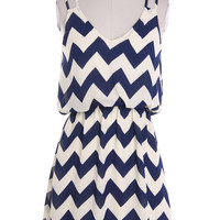 Chevron V-Neck Blouson Dress