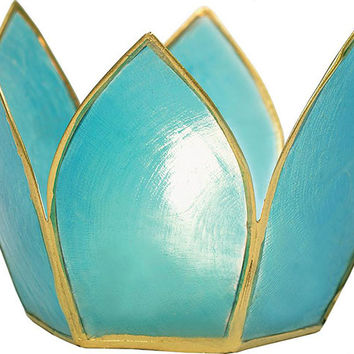 Turquoise Capiz Lotus Tea Light Holder (gold edged)